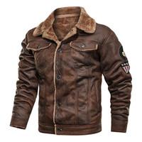 Chaquetas de hombres chaqueta de cuero para hombres abrigos de ropa exterior motocicleta ciclista macho invierno piel gruesa vellón hombre a prueba de viento