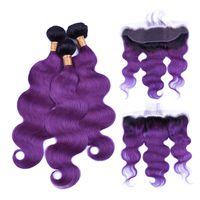 Silanda Hair Ombre #t 1b / 보라색 바디 웨이브 레미 인간의 머리카락 13x4 레이스 정면 클로저가있는 3 개의 제직 번들 무료 배송