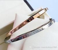 Bo ile 2018 yeni Bilezikler Manşet Rose Gold Gümüş Bileklik% 100 paslanmaz çelik bilezik Kadın ve Erkekler Bilezik pulsera sevgilisi hediye