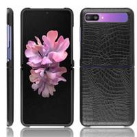 Per Samsung Galaxy Z Cuoio di lusso del coccodrillo della pelle di vibrazione di caso duro della copertura posteriore di caso per Samsung Z flip ZFlip Caso