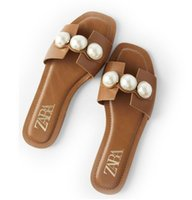 Zapatos de perlas mujeres ZA zapatos Los deslizadores del verano de las mujeres decoración de la perla Diapositivas mujeres planas de los deslizadores de diapositivas elegantes