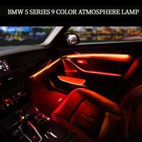 أربعة أبواب داخلية لوحة + التحكم الصمام الديكور الديكور أضواء ضوء الجو مع 3/9 ألوان لسيارات BMW 5 سلسلة F10 / F11 / F18 / F15 14-18