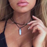 Pendel hängende Kristallhalsketten Double Layer Black Velvet Chokers Punk Geometric Opal-Anhänger-Seil-Halskette für Frauen-Böhmen-Schmuck
