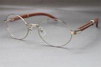 Molduras de Óculos Estrutura Designer com Box Wood Women Tamanho quente: 55-22-135mm Óculos vintage unisex 7550178 Atacado de prata jwfeg