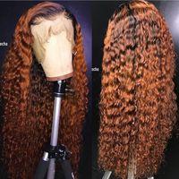 Ombre Kıvırcık Tam Dantel Peruk Sarışın İki Ton Renk 1B # 30 # Brezilyalı Tam Dantel Ön İnsan Saç Peruk Kinky Kıvırcık Bebek Saçlı