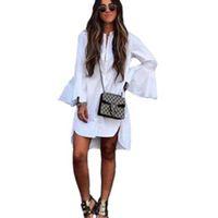 새로운 여성 화이트 플레어 소매 셔츠 드레스 여름 패션 O 목 스트레이트 우아한 여성 Bloues 캐주얼 의류 탑