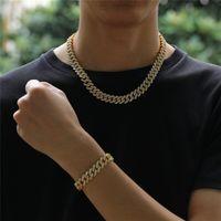 12mm Küba Link Zinciri Altın Gümüş Alaşım Kolye Bilezik Buzlu Out Kristal Rhinestone Bling Gerdanlık Kolye Erkekler için Hip hop Takı GM