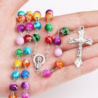 Nuevo religioso católico rosario del arco iris collares largos cruz colgante de Jesús 8 MM cadenas de cuentas para mujeres hombres s moda joyería cristiana