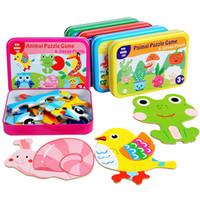 Animal de madera Jigsaw Puzzle 3D juguetes para niños Dibujos animados Animal Giraffe Puzzles Games Early Educational Popular Juguetes