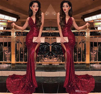 2020 Sparkly Burgundy Sequins Prom Transword Sexy Mermaid High Splits Вечерние платья Женщины Party Prom Progress Vestidos BC0866
