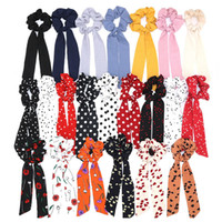 Fashion Wave Point Print Scrunchie Mujeres Bufanda de pelo Elástico Hairband Bow Cabello Cuerdas de goma Chicas Pelo Lazos Accesorios RRA1946