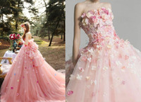 Romantico 3D fiore rosa tutu abiti da sposa 2019 gonfio tulle abiti da sposa fuori spalla pizzo up più size vestido de noiva