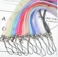 ترف بلينغ كريستال حجر الراين الحبل الماس حبل معلق سلسلة قلادة عنق سلسلة حبال ملونة لMP3 بطاقة الهوية سلسلة المفاتيح