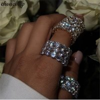 choucong Eternity Finger Ring 925 sterling Silver 4mm Diamon...