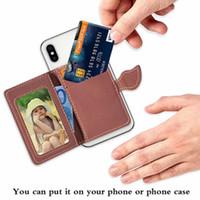 Yeni Varış Evrensel Deri Arka Sticker Kapak Kılıf Kart Tutucu Cüzdan Yuvaları Ile Yaprak Flip Case Cep Telefonu için
