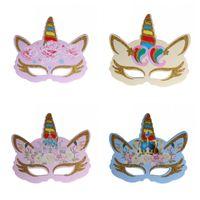 6 adet Altın Toz Renk Unicorn Maske Çocuk Cosplay Parti Maskeleri Festivali Doğum Günü Dekorasyon Sahne Çok Stil 2 1RBH1