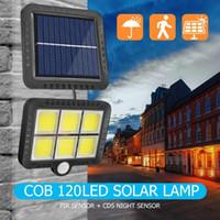 الطاقة الشمسية استشعار الحركة الجدار الخفيفة في الهواء الطلق مقاوم للماء حديقة مصباح COB 120LED الشمسية مصباح الشارع مصباح حديقة الديكور دروبشيبينغ