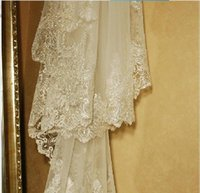 3 Meters Cathedral Length Bridal Veils White Ivory Lace Applique Sequins Edge Without Comb Wedding Veil Bridal Accessories