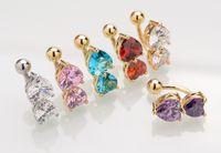 6 Renkler Ters Crystal Bar Göbek Ring Altın Piercing Düğme Navel İki Kalp vücut delip takı DHL Ücretsiz