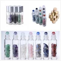 زجاجات الزيوت الطبيعية الأساسية المحمولة الملونة 65 أنماط الأحجار الكريمة الأسطوانة الكرة جرة واضح زجاج زجاجة حاوية العطور