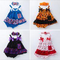 Roupas de meninas de bebê conjuntos infantil jumpsuit americano bandeira vestidos de halloween shorts listrados independência dia nacional listrado arco headband c682