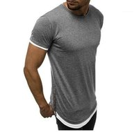 Casual Tees Mens Zipper Solid Color-T-Shirt Sommer-Rundhalsausschnitt Pullover Short Sleeve Mode