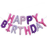 Carta de la sirena del papel de aluminio Globo fijado con la borla El feliz cumpleaños hincha la fiesta de cumpleaños del juguete globo de látex decoración de la boda DBC VT1705