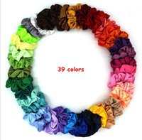Anello Satin Hair Scrunchies Solid Donne Bambine elastico dei capelli Elastici Accessori Gum per le donne cravatta capelli fune ad anello supporto del Ponytail
