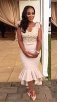 Sexy African Satin Mermaid Cocktailkleider Sheer Zurück kurzen Ärmeln billig plus Größe Arabisch Lange Abendkleider Kundenspezifische Partei-Brautjungfernkleider