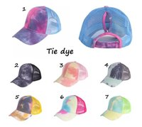 Tie- dye Ponytail Hat Baseball Cap Messy Buns hat Trucker Pon...