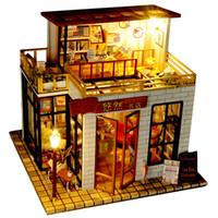 Bricolage modèle de construction de jouets, librairie de style chinois avec la lumière, blocs en bois de construction, Party Kid » cadeau d'anniversaire, Collectiing, Ornement Décoration
