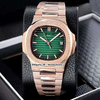 18 Stijl Beste 40mm Nautilus 5711/1 Frosted Pink Gold Automatic Mechanical Mens Horloge Groene wijzerplaat Frosted Steel Band Rents Sport Horloges