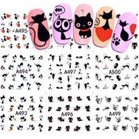 12 Designs Wassertransfer Nail Art Sticker und Aufkleber Sommer Designs Cartoon Katze Set niedlich Slider Tattoos Maniküre SAA493-504