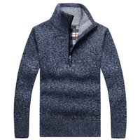 Hombres suéteres para hombre otoño caliente grueso de punto suéter de cuello alto sólido de manga larga suéteres de lana media cremallera Escudo tamaño asiático invierno polar
