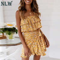 NLW Pre-vendita Nuovo 2019 Summer Beach Dress Donna Casual Ruffles senza spalline Mini Dress Casual Sexy Party Vestidos