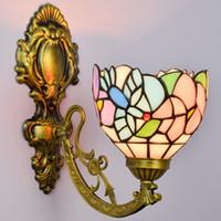 Американская пастырской стиль украшения птица одноголовочный стекла настенные светильники рестораны клубы отели Бра Tiffany стиль ретро лампы TF089