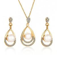 New Hot Fashion Bride fête de mariage Simulé perle cristal goutte d'eau Sautoirs Collier / Boucles d'oreilles pour les femmes Ensemble de bijoux