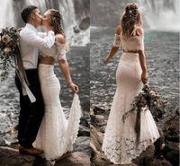 White Lace due pezzi della spiaggia abiti da sposa 2019 Splendida fuori dalla spalla Garden Boho Abiti da sposa Abiti da sposa Abito da sposa Paese
