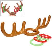 Надувные ПВХ оленьи рога шляпа кольцо бросить игру Рождество праздник партии игрушки Лось рождественский костюм милый весело игра фавориты косплей