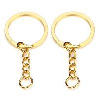 28mm Gold Schlüsselanhänger Keychain Runde Split Ringe mit Kurzkette Rhodium Bronze Schlüsselringe Frauen Männer DIY Schmuck machen Schlüsselketten Zubehör