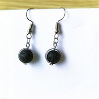 Lava Diffuser Earrings Lava- rock Round Bead Dangle & Chandel...