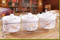 Set di barattoli di spezie europei Vasetti di condimento in ceramica Agitatore di sale Pepe Ampolla Utensile da cucina