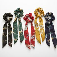 Vintage Flower Hair Scrunchies Bow Damen Accessoires Haarbänder Krawatten Scrunchie Pferdeschwanzhalter Rubber Rope Ribbon Kids Big Long Bow
