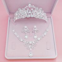 Reinestone casamento Crows acessório do casamento da dama de honra Jóias Acessórios nupcial conjunto de acessórios frete grátis (Crown + colar + brincos)