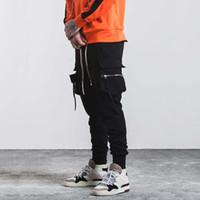 Strapback Erkek Tasarımcı Pantolon Saf Siyah Damla Kasık Jogger Pantolon Hip Hop Elastik Bel Sweatpants Skinny High Street Moda Pantolon Pantolon