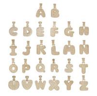 A-Z مخصص اسم الأبيض بالتنقيط فقاعة خطابات القلائد قلادة تشاني للرجال النساء الذهب والفضة اللون مكعب الزركون الهيب هوب مجوهرات