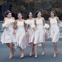 2019 спагетти A-Line Высокие низкие подружки невесты платья Slim Hi-Lo Simple Vestidos de Garey Plus Размер по честь горничной дешевый выпускные платья