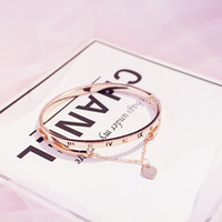 Wholesale- Rose Gold Edelstahl-Armband-Armbänder weibliches Herz Für immer Liebe Marke Charm Armband für Frauen Berühmten Schmuck