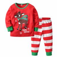 pijamas de Navidad de los niños caseros de la ropa de los niños establecen niños y las niñas de color rojo impreso de Navidad ciervos pantalones a rayas juego de dos piezas