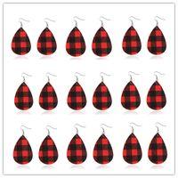 Cuero de color rojo a cuadros pendientes para las mujeres Brincos Tear 2020 joyería gota Pendientes Dangles Rojo y Negro Doble Dangles moda